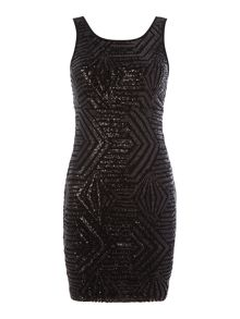 Vila all over sequin sleeveless bodycon dress
