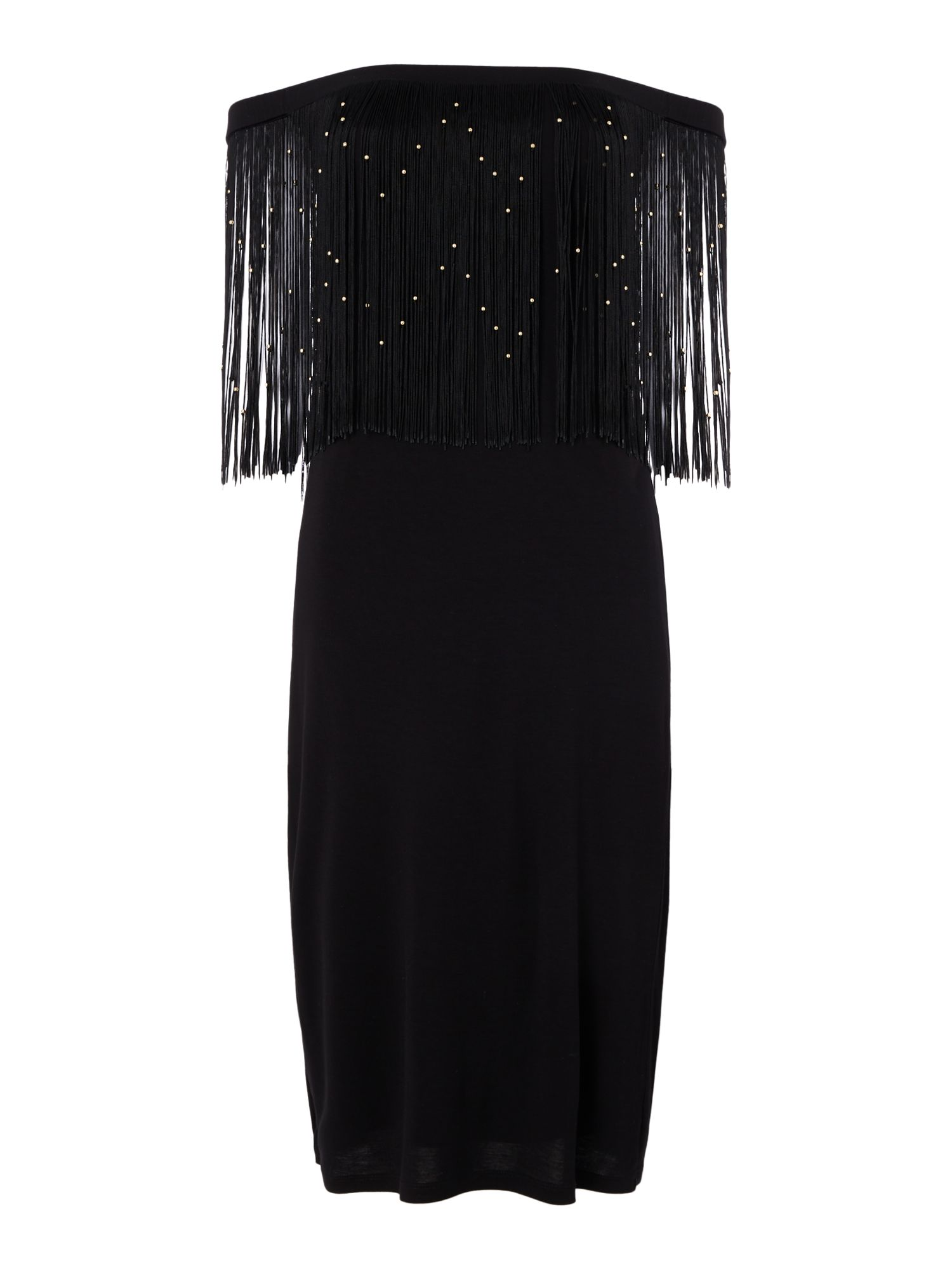 Biba Off the shoulder beaded frined jersey dress, Black