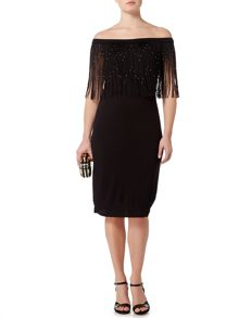 Biba Off the shoulder beaded frined jersey dress