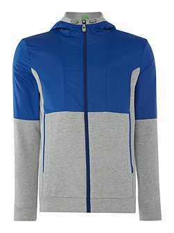 Sivon zip-up nylon mix hoodied sweat top