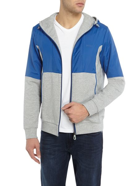 Hugo Boss Sivon zip-up nylon mix hoodied sweat top