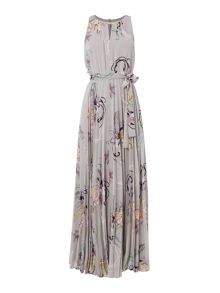 Biba Printed pleated neck trim occasion maxi