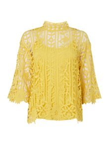 Biba Lace high neck blouse