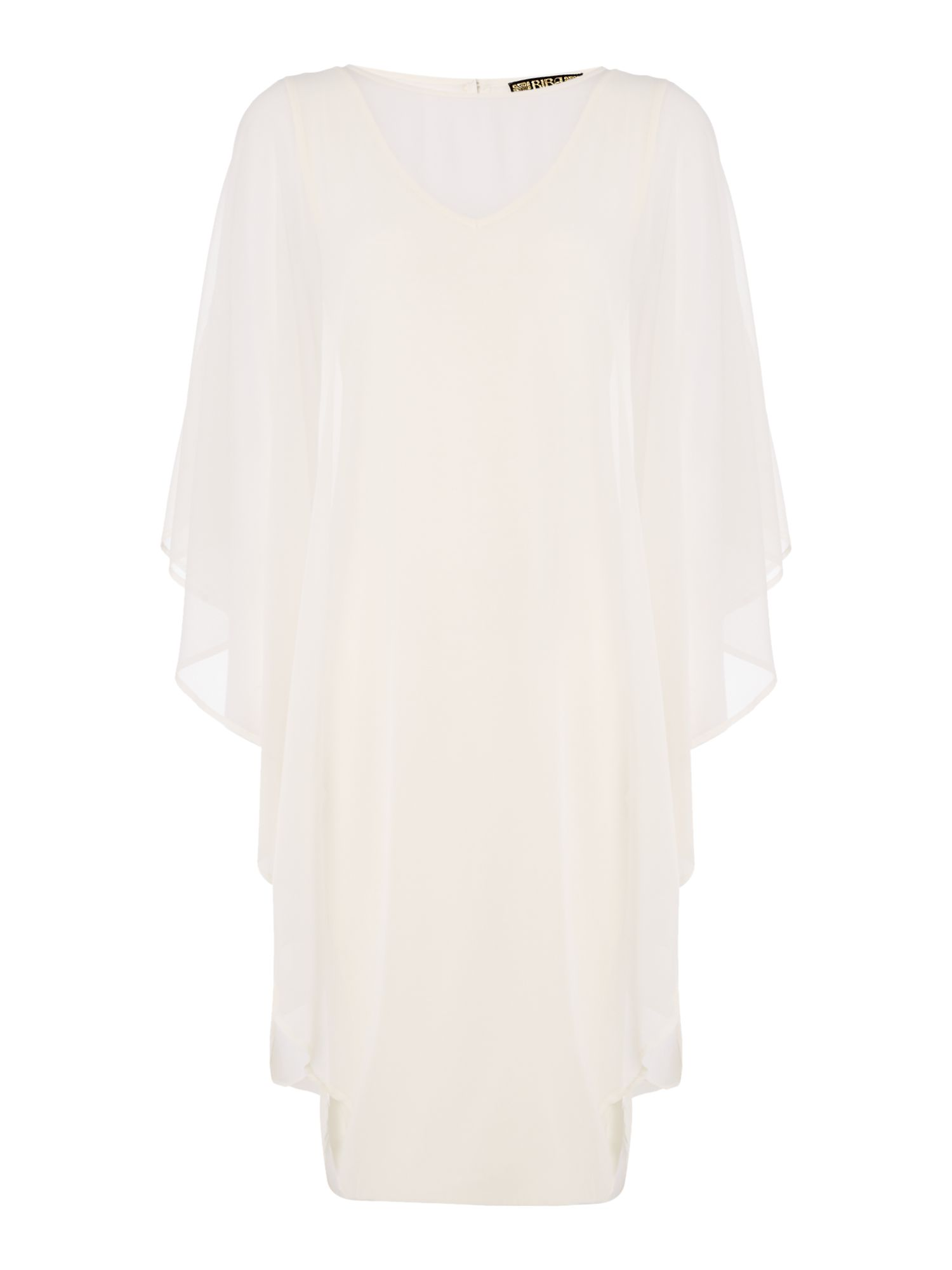 Biba Chiffon overlay volume dress, White
