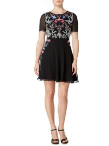 Frock and Frill Long sleeved embellished fit and flare dress