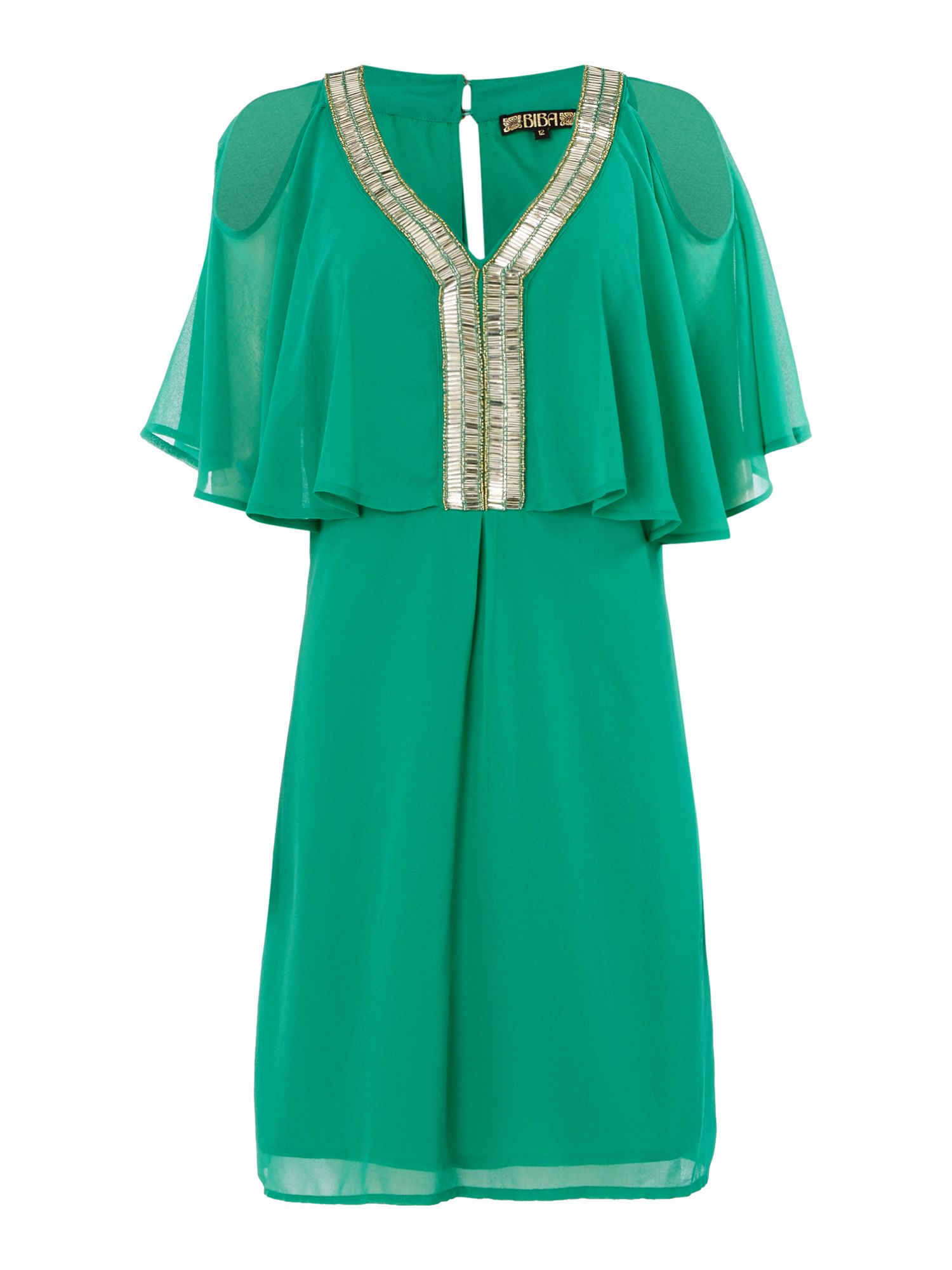 Biba Beaded front chiffon overlay dress, Green