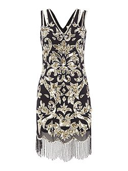 Alessa sleeveless all over sequin flapper dress