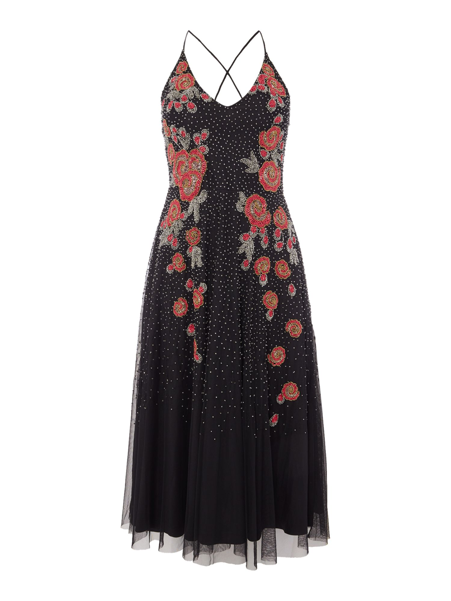 Frock and Frill Sleeveless V neck embellished dress, Black