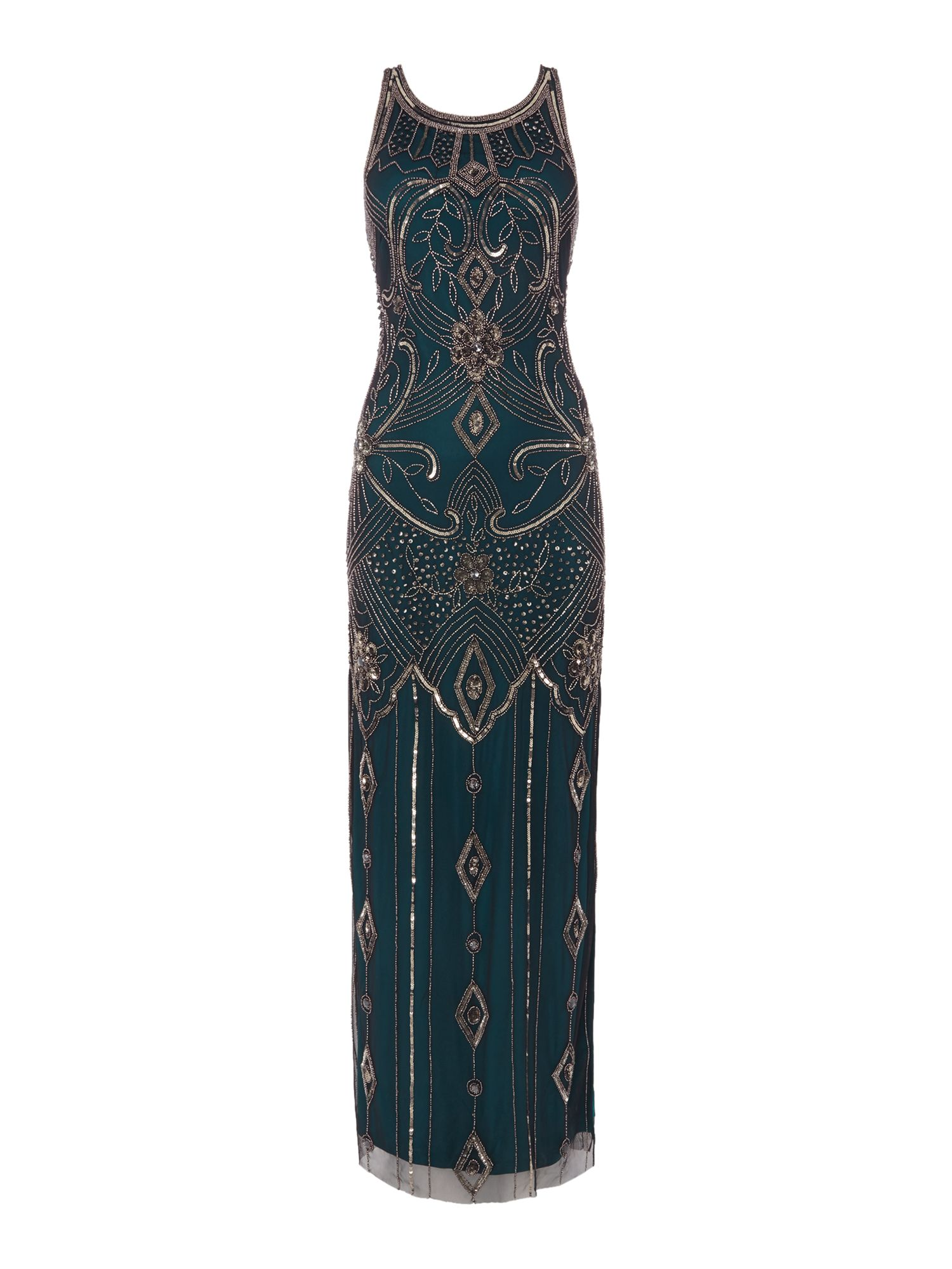 Fun 1920s Flapper Dresses & Quality Flapper Costumes Frock and Frill Sleeveless side slit embellished gown Emerald £95.00 AT vintagedancer.com