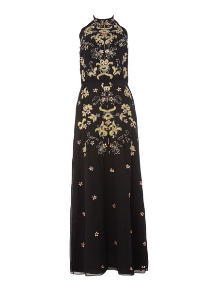 Frock and Frill Sleeveless all over embellished dress