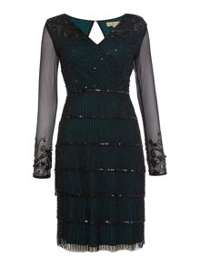 Frock and Frill Abrianna long sleeved v neck flapper dress