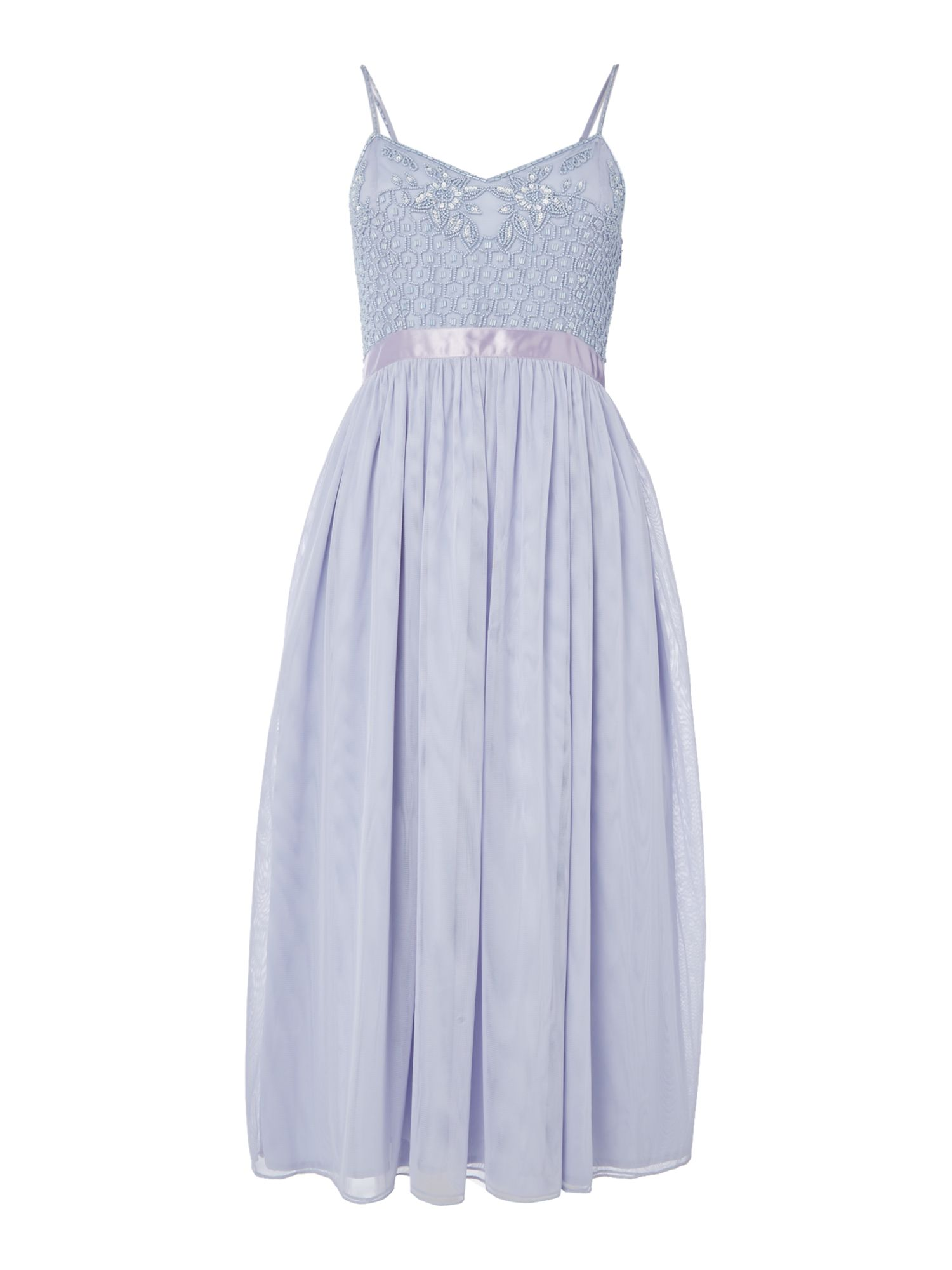 Frock and Frill Embellished top strappy skater dress, Blue