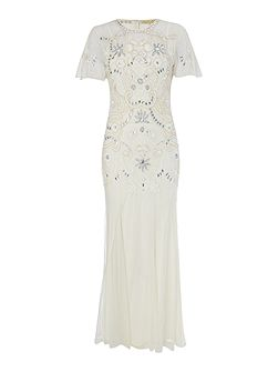 Arianne embellished cap sleeve gown