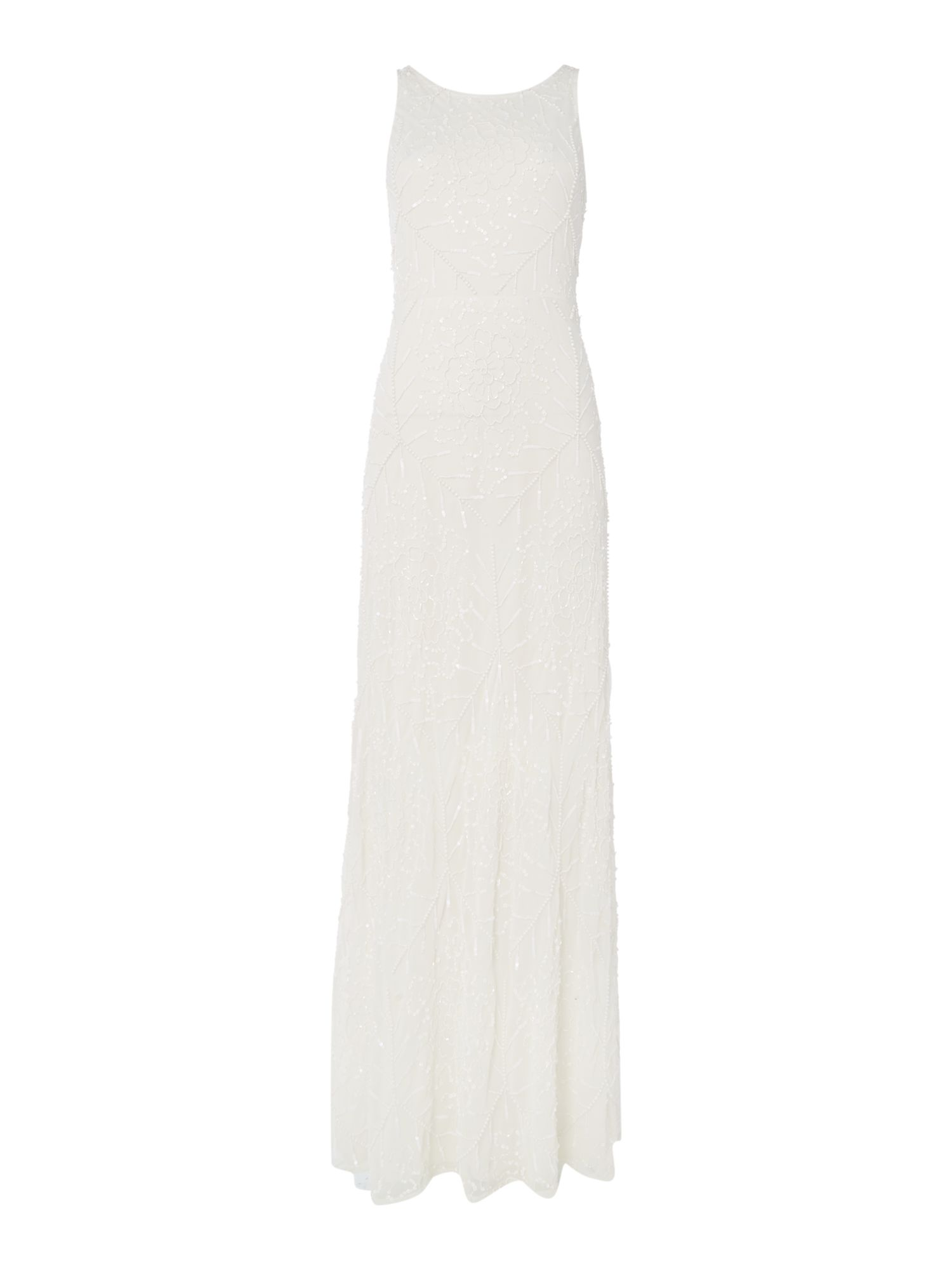 Frock and Frill Short sleeved fully embellished gown, White
