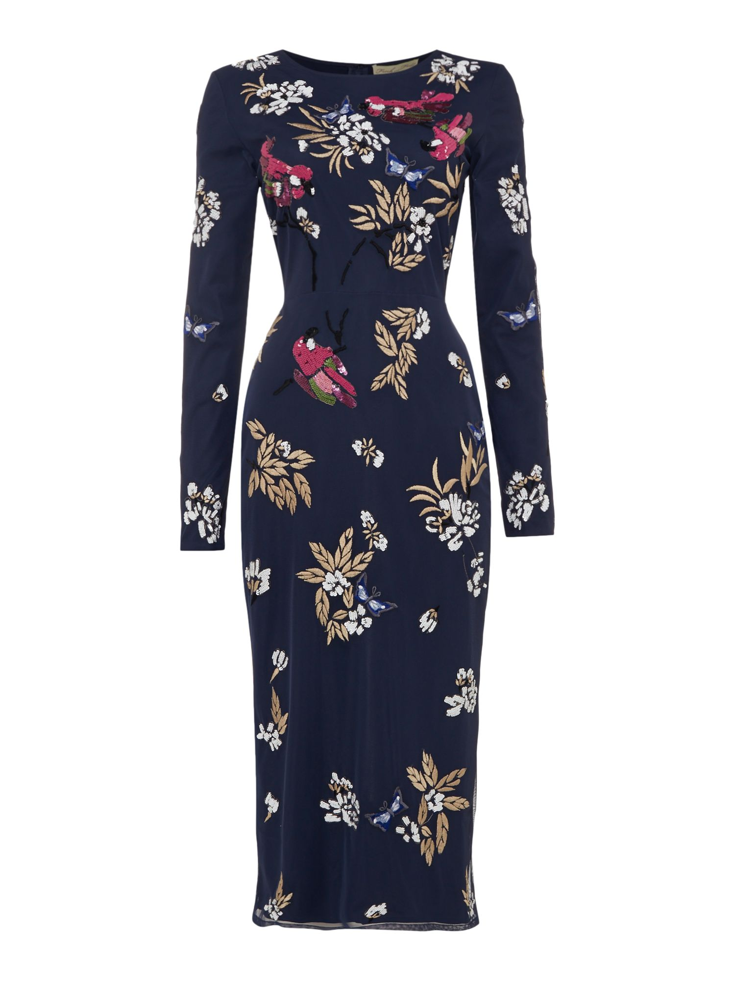Frock and Frill Arin Embellished Midi Shift Dress Navy