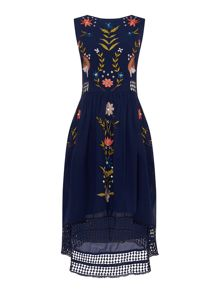 Frock and Frill sleeveless bird embroided dress