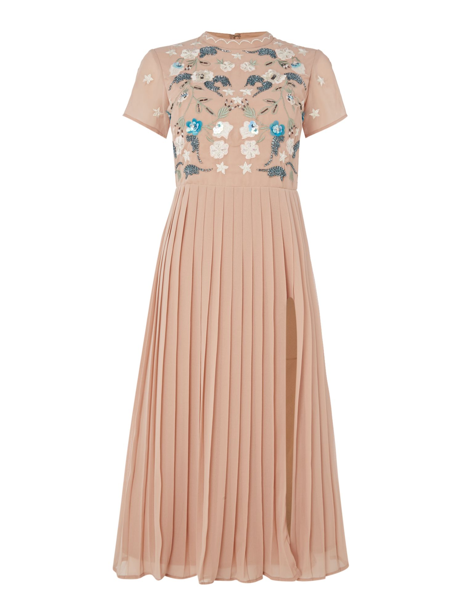 Fun 1920s Flapper Dresses & Quality Flapper Costumes Frock and Frill Short sleeved high neck midi dress Blush £80.50 AT vintagedancer.com
