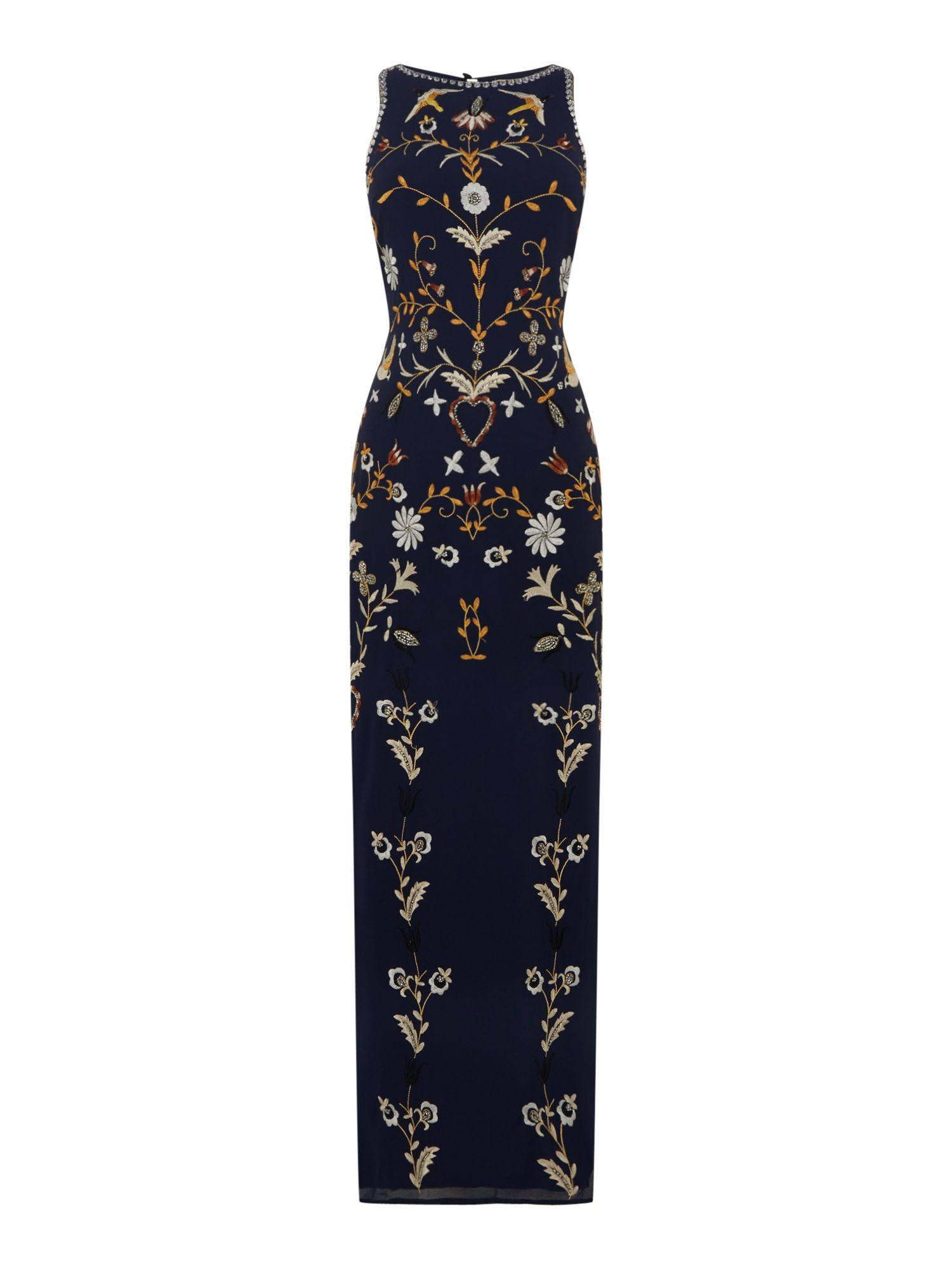 1920s Downton Abbey Dresses Frock and Frill Short sleeved embellished gown Navy £124.00 AT vintagedancer.com
