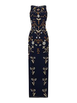 Short sleeved embellished gown