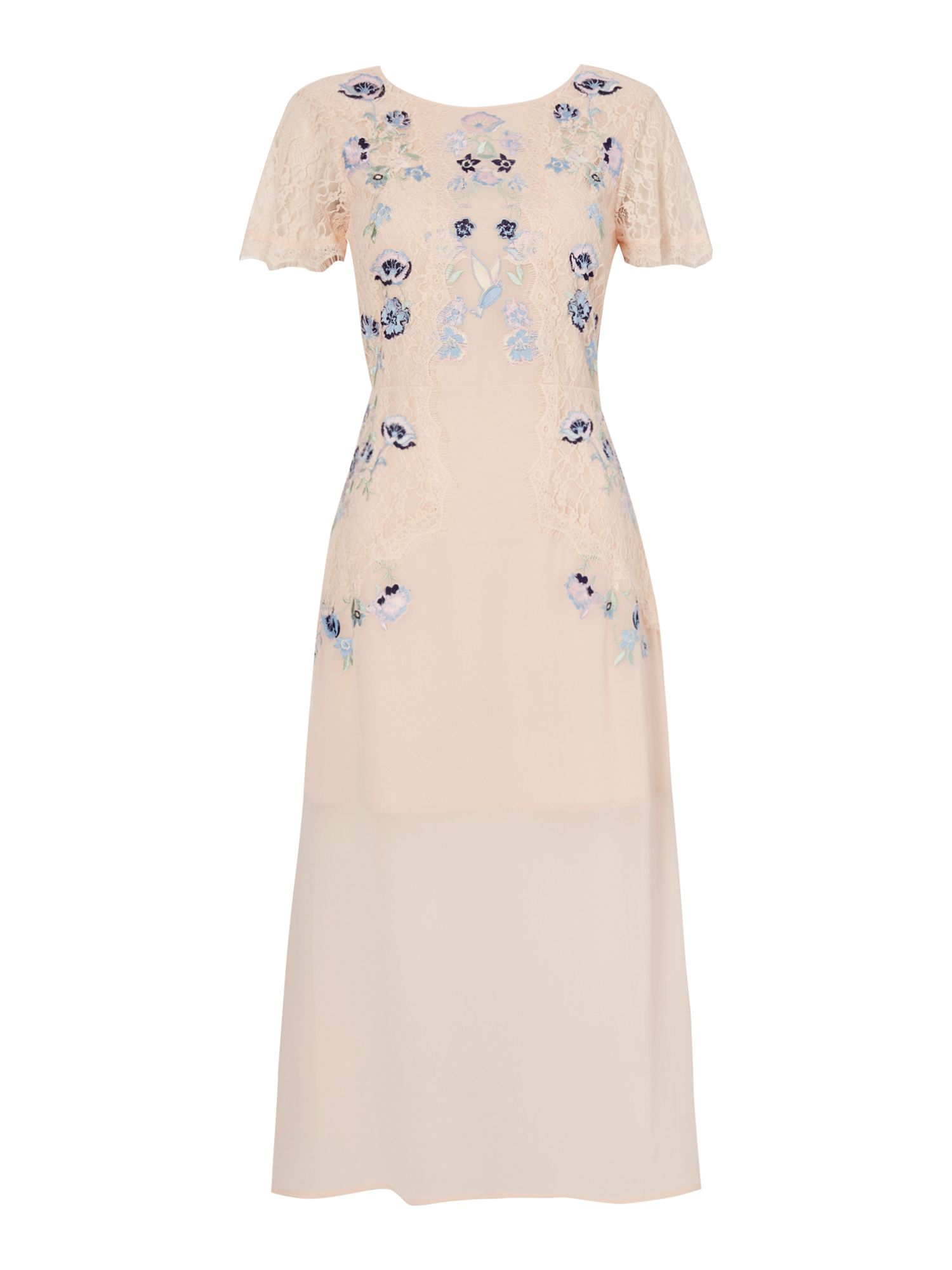 Frock and Frill Cap sleeve dress with embroided and lace detail, Yellow