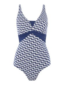 Dickins & Jones Wave stripe swimsuit