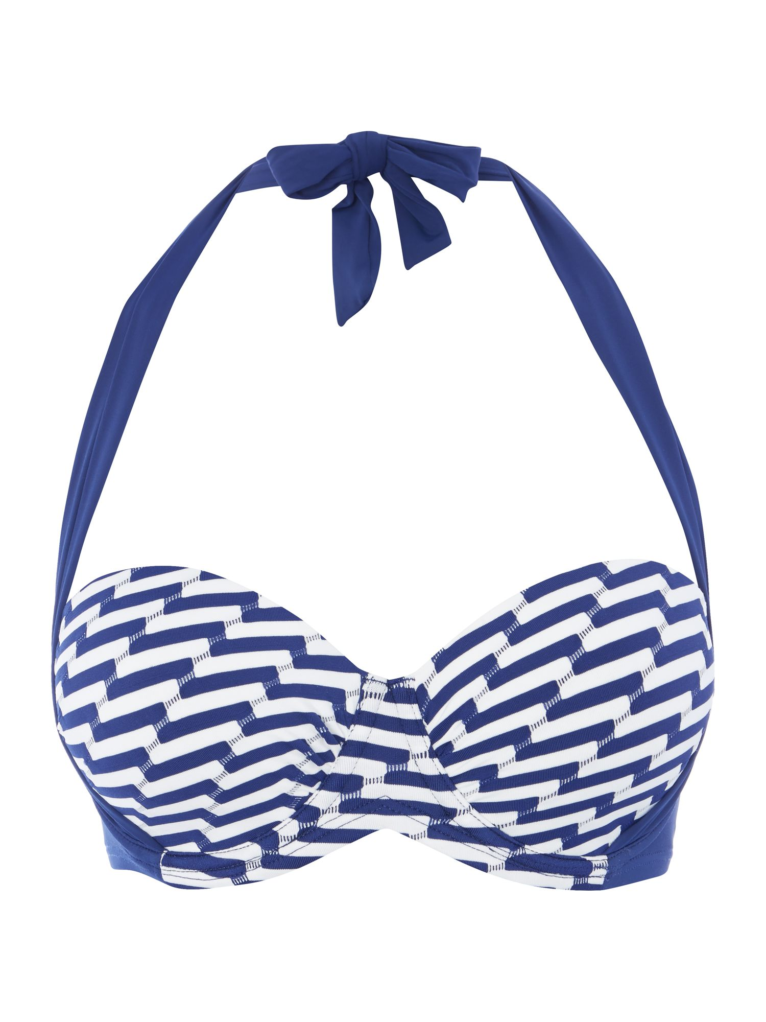 Dickins & Jones Wave stripe multiway bikini top, Blue