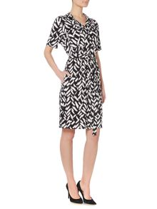 Linea Brushstroke tie up shirt dress