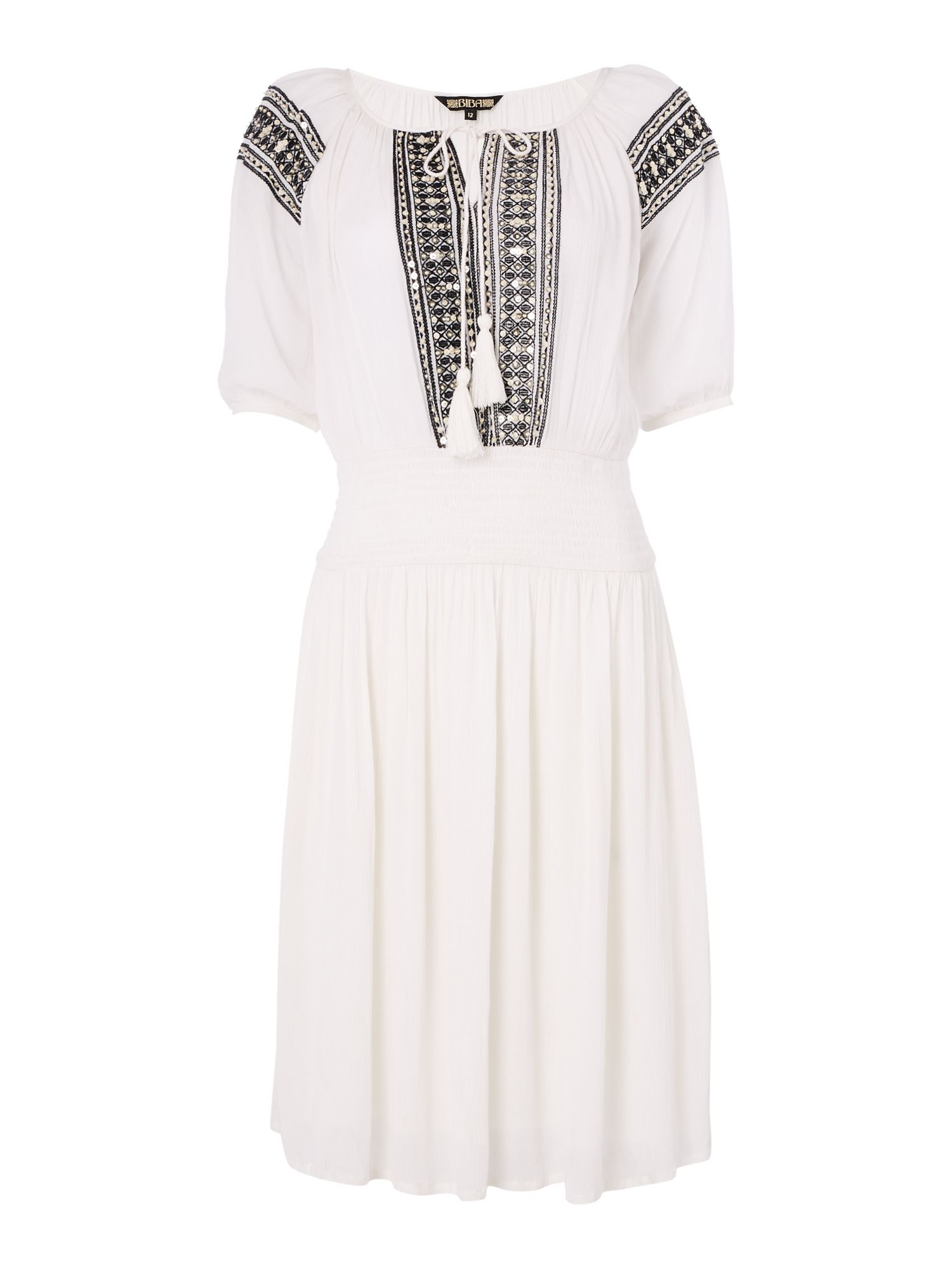 Biba Embroidered elasticated waist dress, White