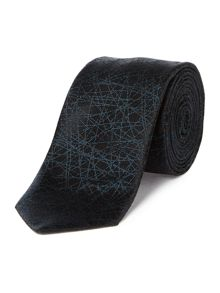 Hugo Boss Silk Scratched Lines Tie