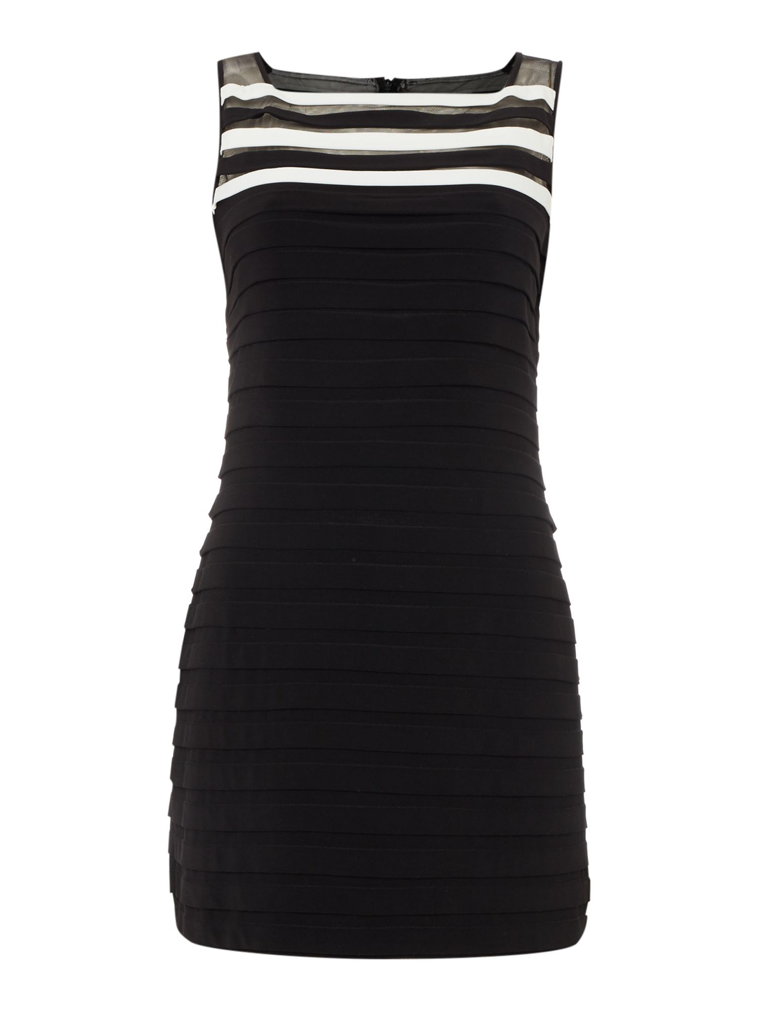 Adrianna Papell Sleeveless pintuck jersey dress, Black & White