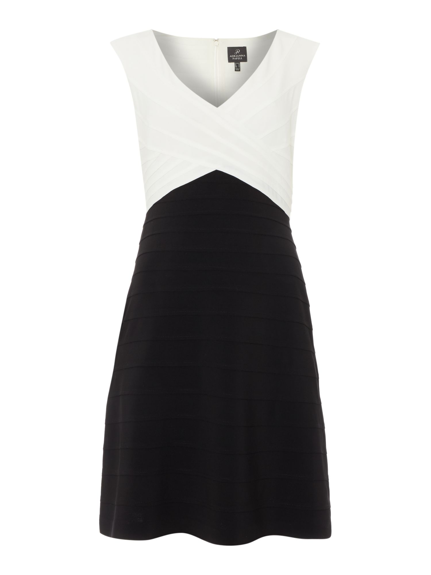 Adrianna Papell Cap sleeve piped fit and flare dress, Black & White