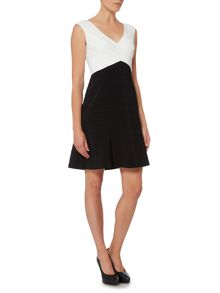 Adrianna Papell Cap sleeve piped fit and flare dress