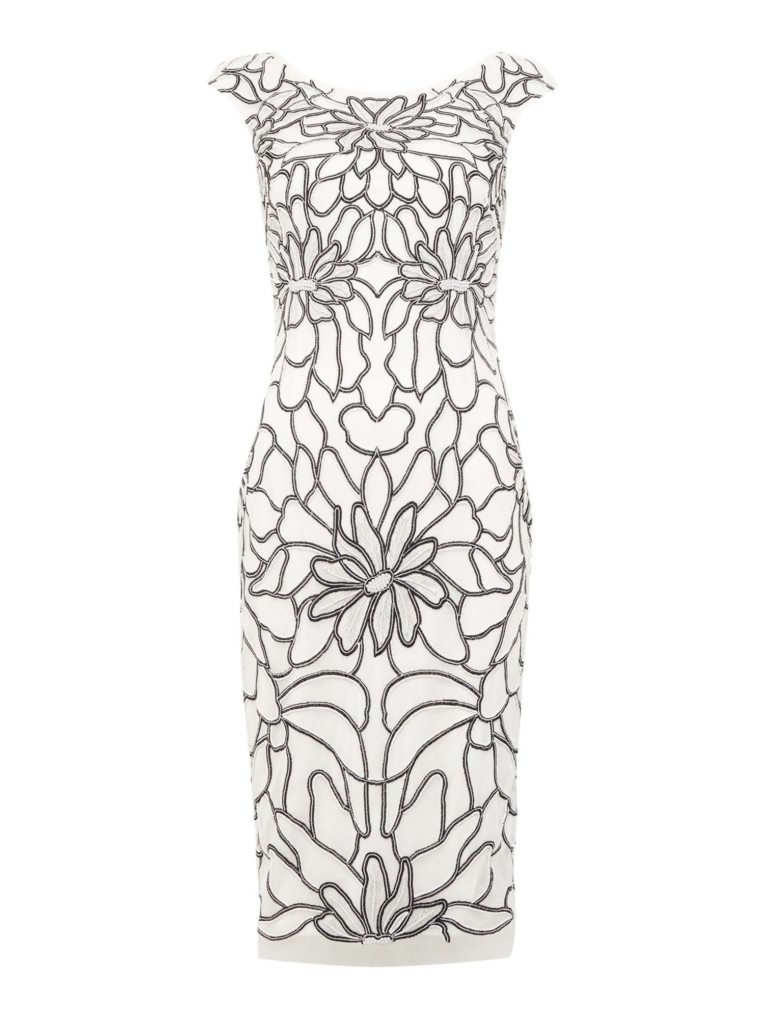 Adrianna Papell Cap sleeved embellished petal print dress, White