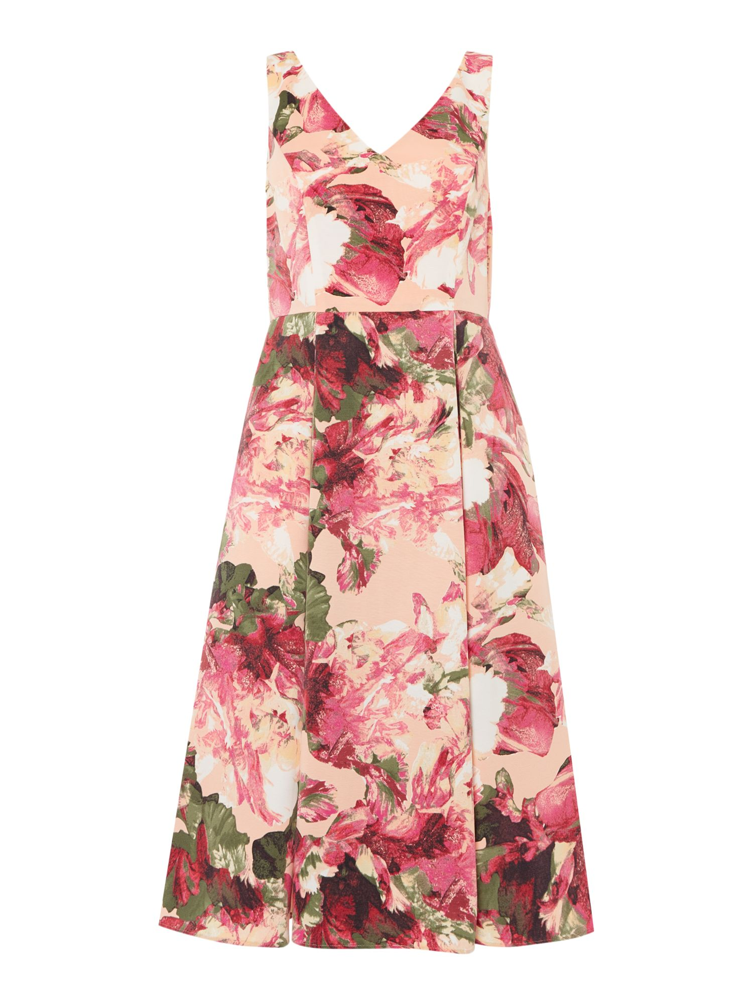 Adrianna Papell Sleeveless v neck fit and flare tea dress, Apricot