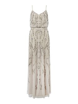 Blouson dress with floral sequin embroidery
