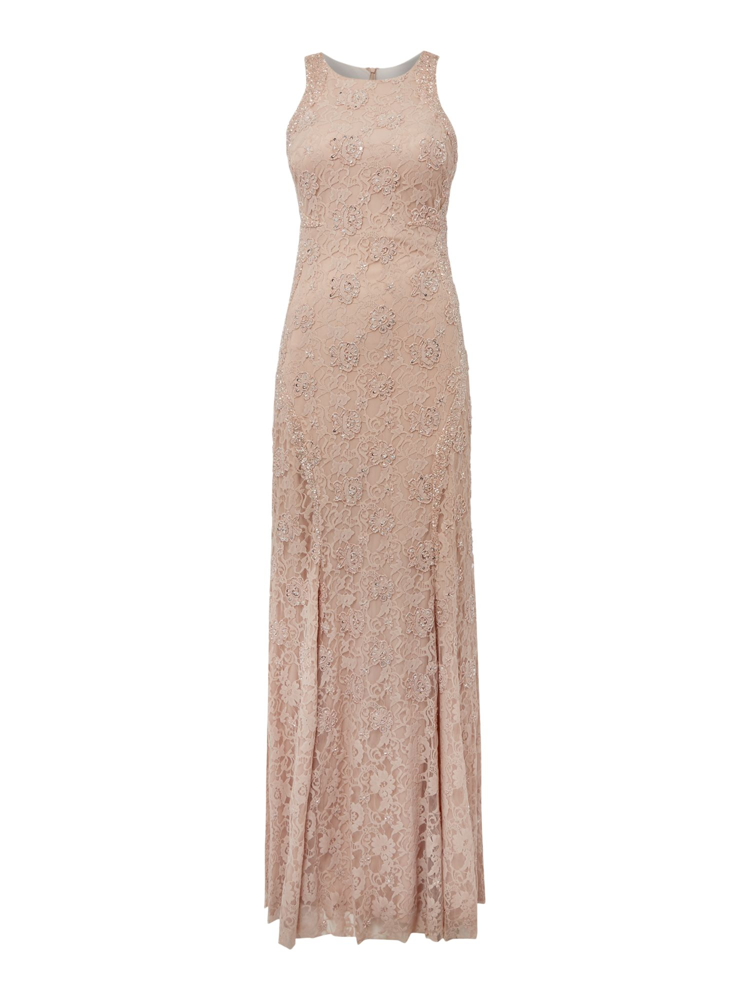Adrianna Papell Lace sequin dress with embellished shaping, Pink