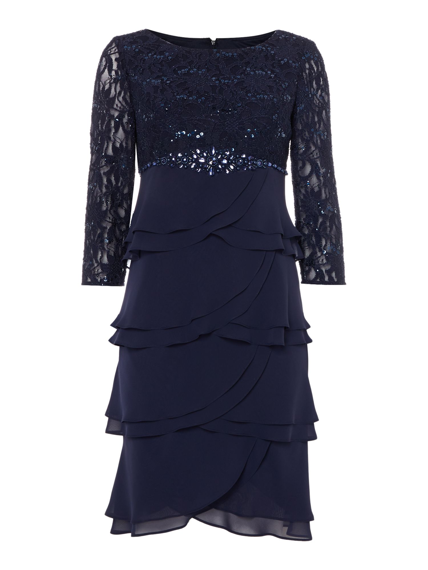 Eliza J Lace tiered chiffon dress, Blue