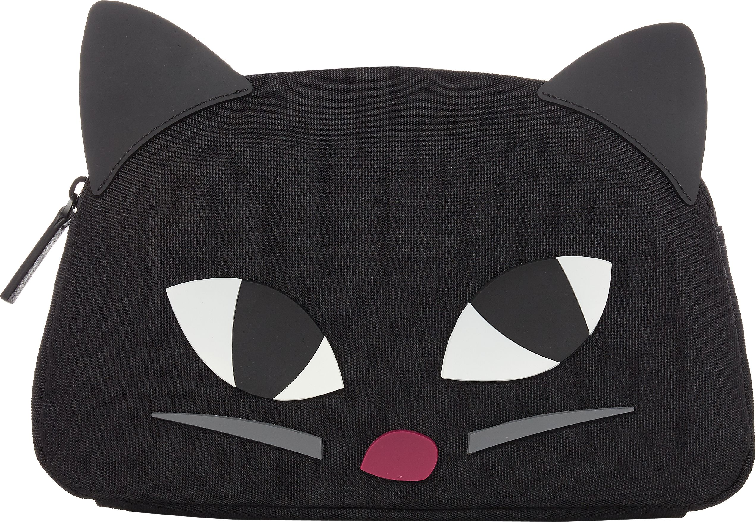 Lulu Guinness Kooky cat crescent large pouch, Black