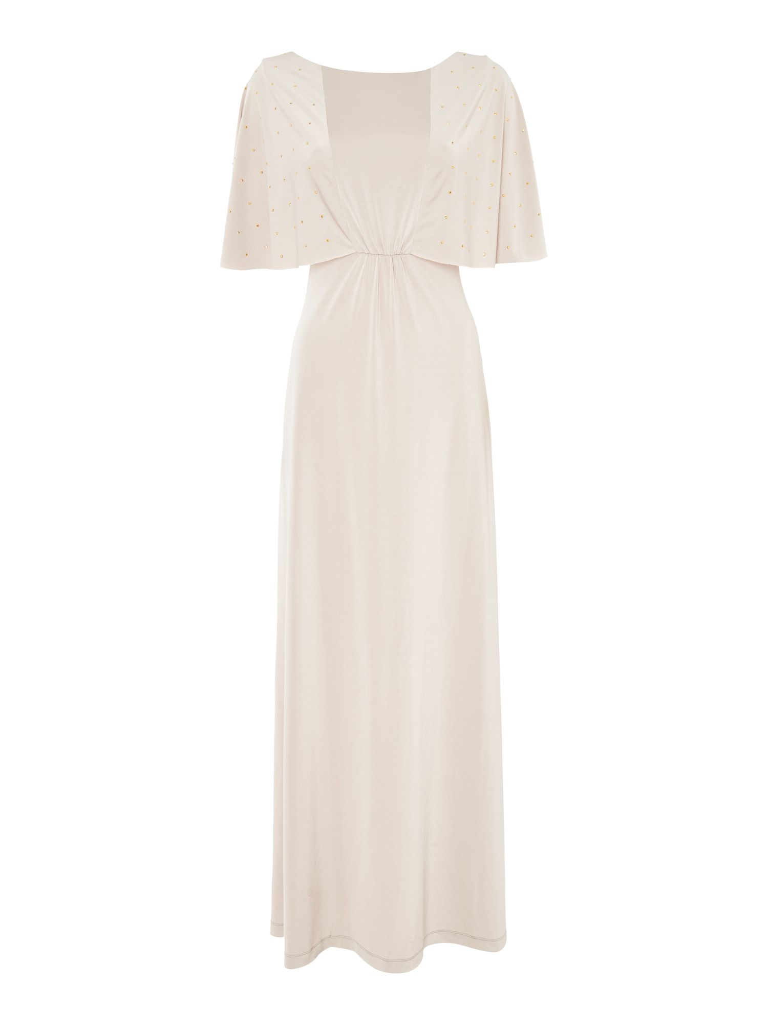 Biba Studded sleeve luxe occasion maxi dress, Champagne