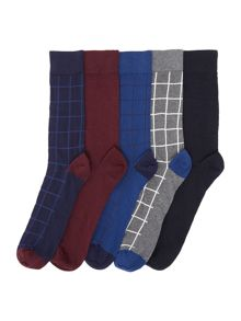 Howick 5 Pack Window Check Socks