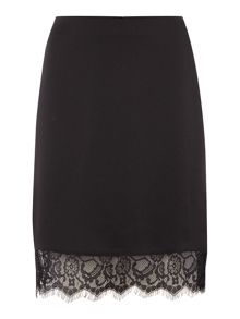 Therapy Nilah Lace Trim Satin Pencil Skirt