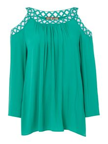 Biba Cold shoulder cutwork detail blouse
