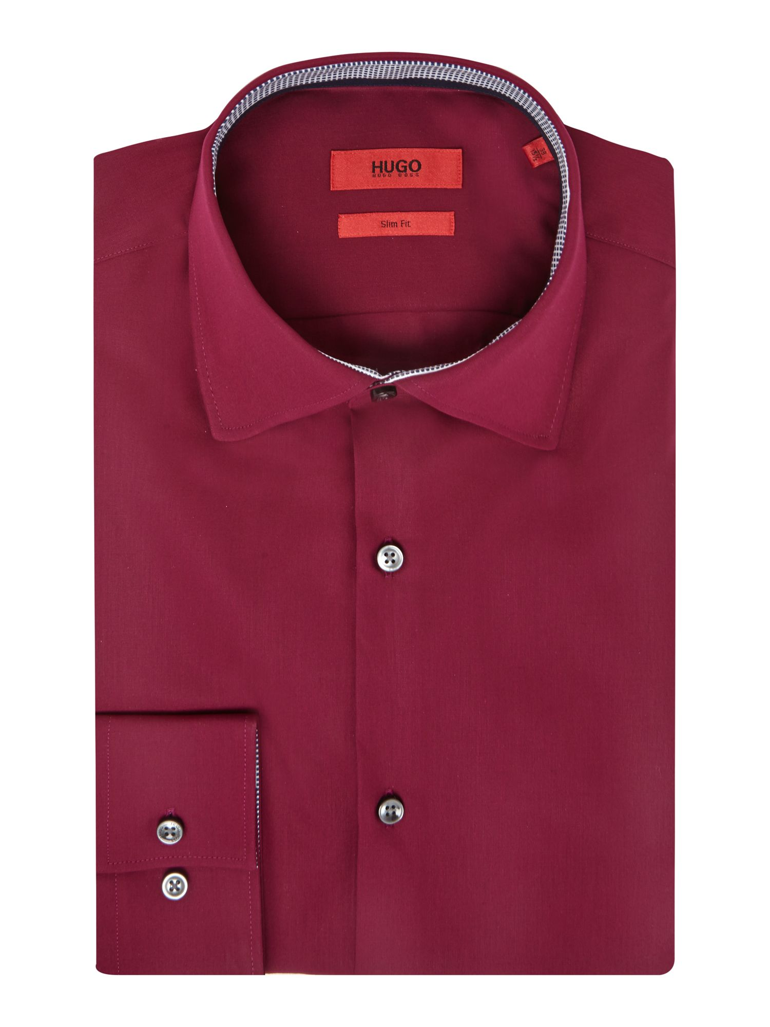 HUGO Men's Hugo Jerry Slim Fit Double Trim Shirt, Port