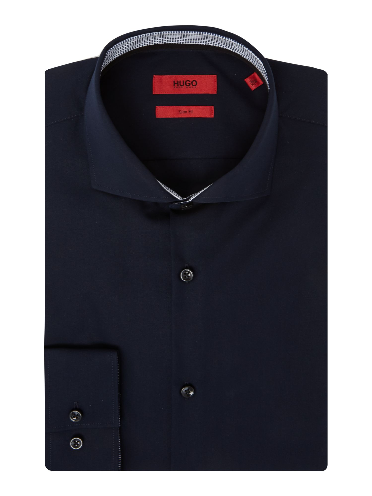 HUGO Men's Hugo Jerry Slim Fit Double Trim Shirt, Dark Navy