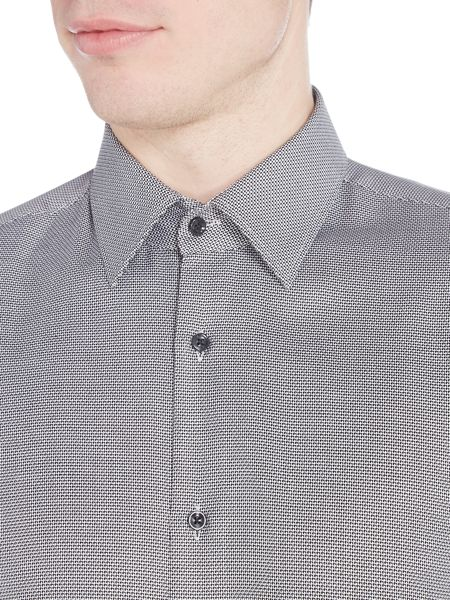 Hugo Enzo Regular Fit Textured Geo Print Shirt