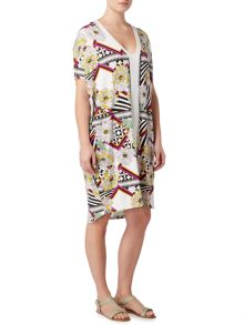 Biba V neck geo floral tunic jersey dress
