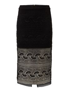 Bardot geo laced skirt