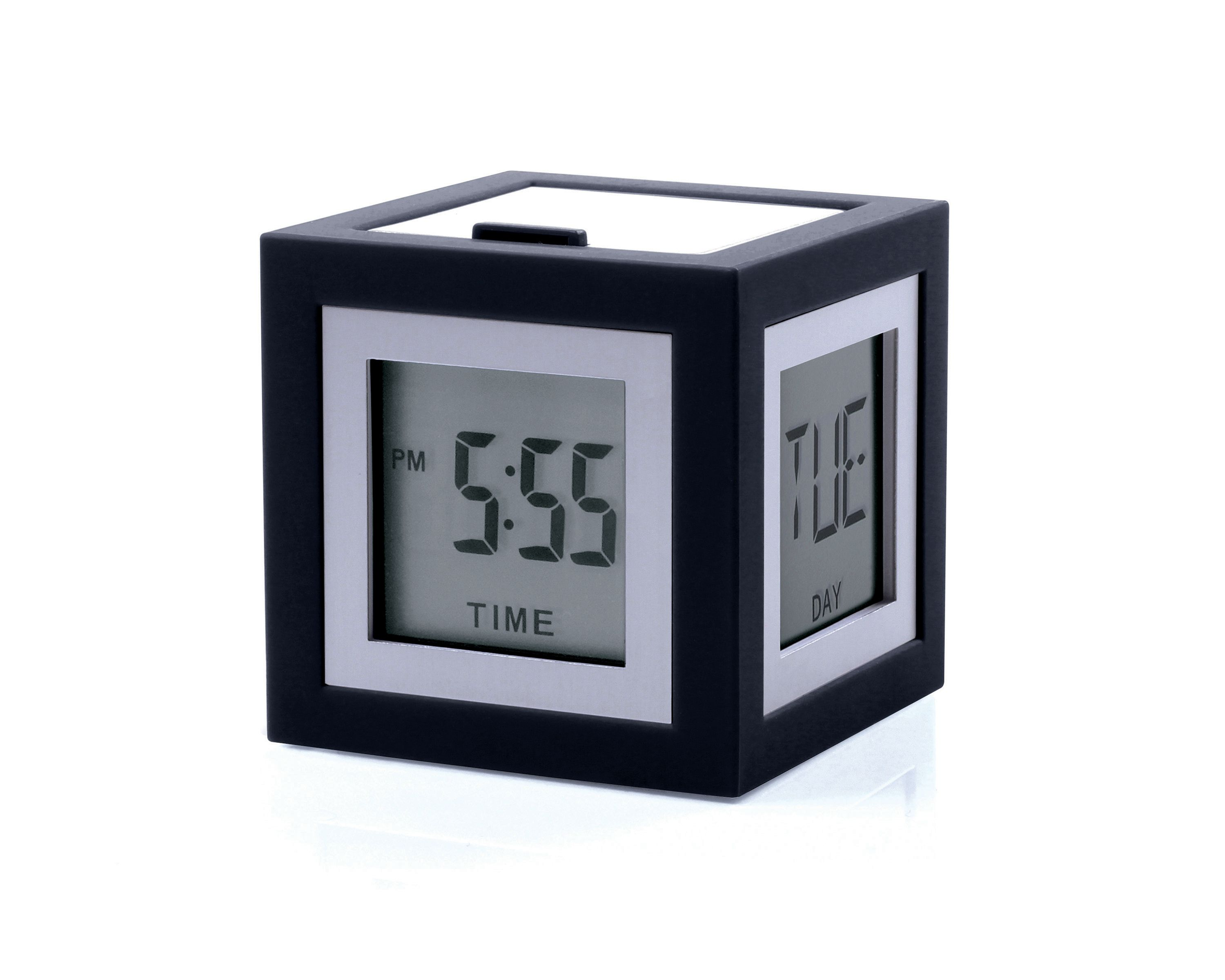 Image of Lexon Cubissimo Alarm Clock, Dark Grey