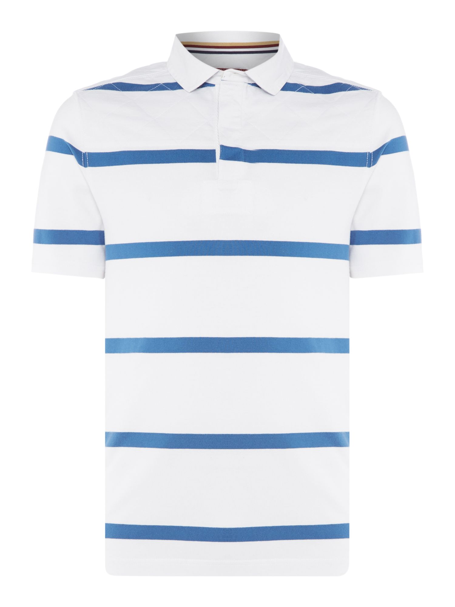 Men's Howick LA Fine Stripe Quilted Short Sleeve Rugby, White