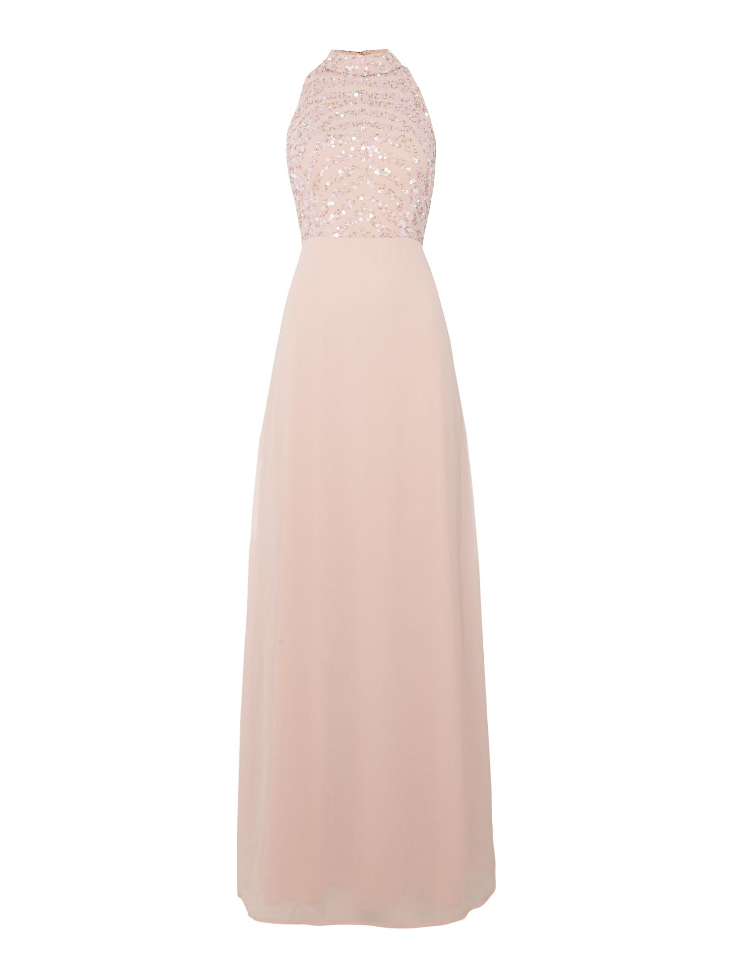 Lace and Beads Lace and Beads High Neck Maxi Dress, Pink